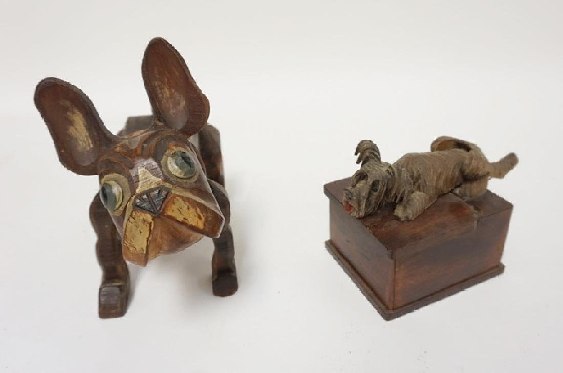 2 NOVELTY CARVED WOODEN DOG BOXES. TALLEST 7 IN