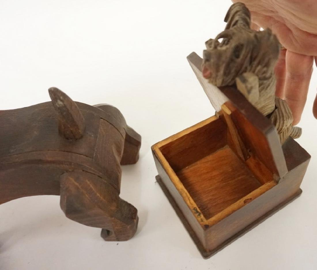 2 NOVELTY CARVED WOODEN DOG BOXES. TALLEST 7 IN - 2
