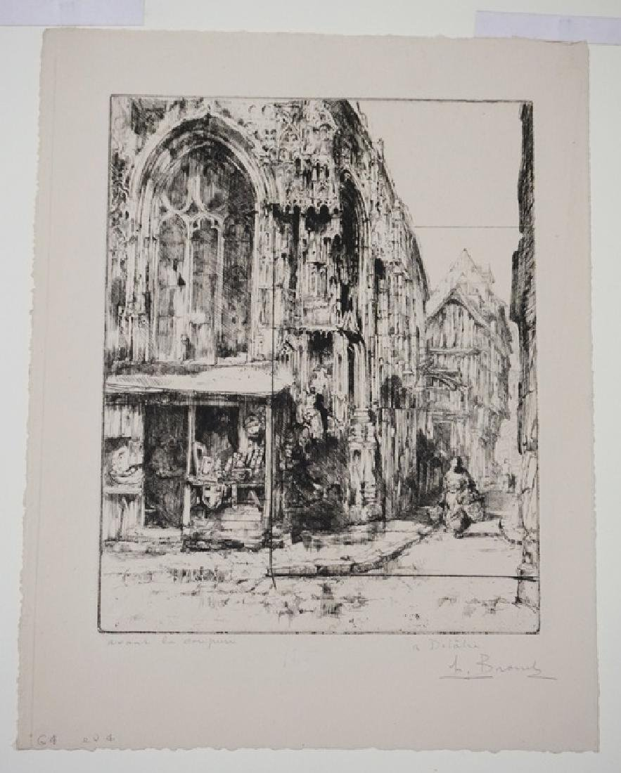 AUGUSTE BROUET PRINT OF A FRENCH STREET CORNER. 8 1/4