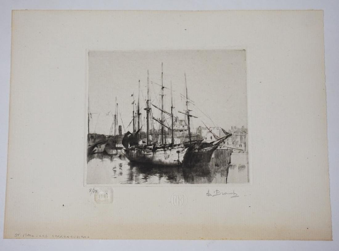 AUGUSTE BROUETALIM ED ETCHING OF A BOAT *ST
