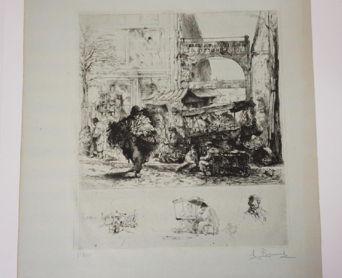 AUGUST BROUET ETCHING OF A CITY MARKET. 11 1/2 IN X 13