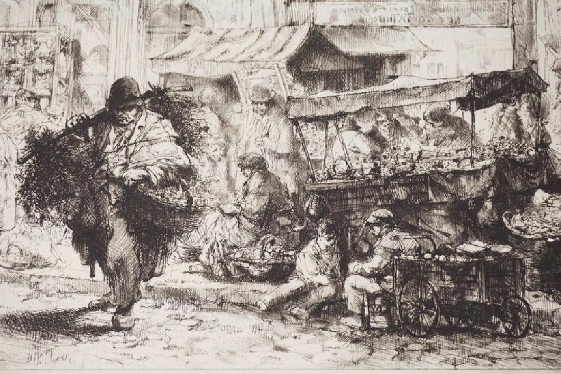 AUGUST BROUET ETCHING OF A CITY MARKET. 11 1/2 IN X 13 - 2