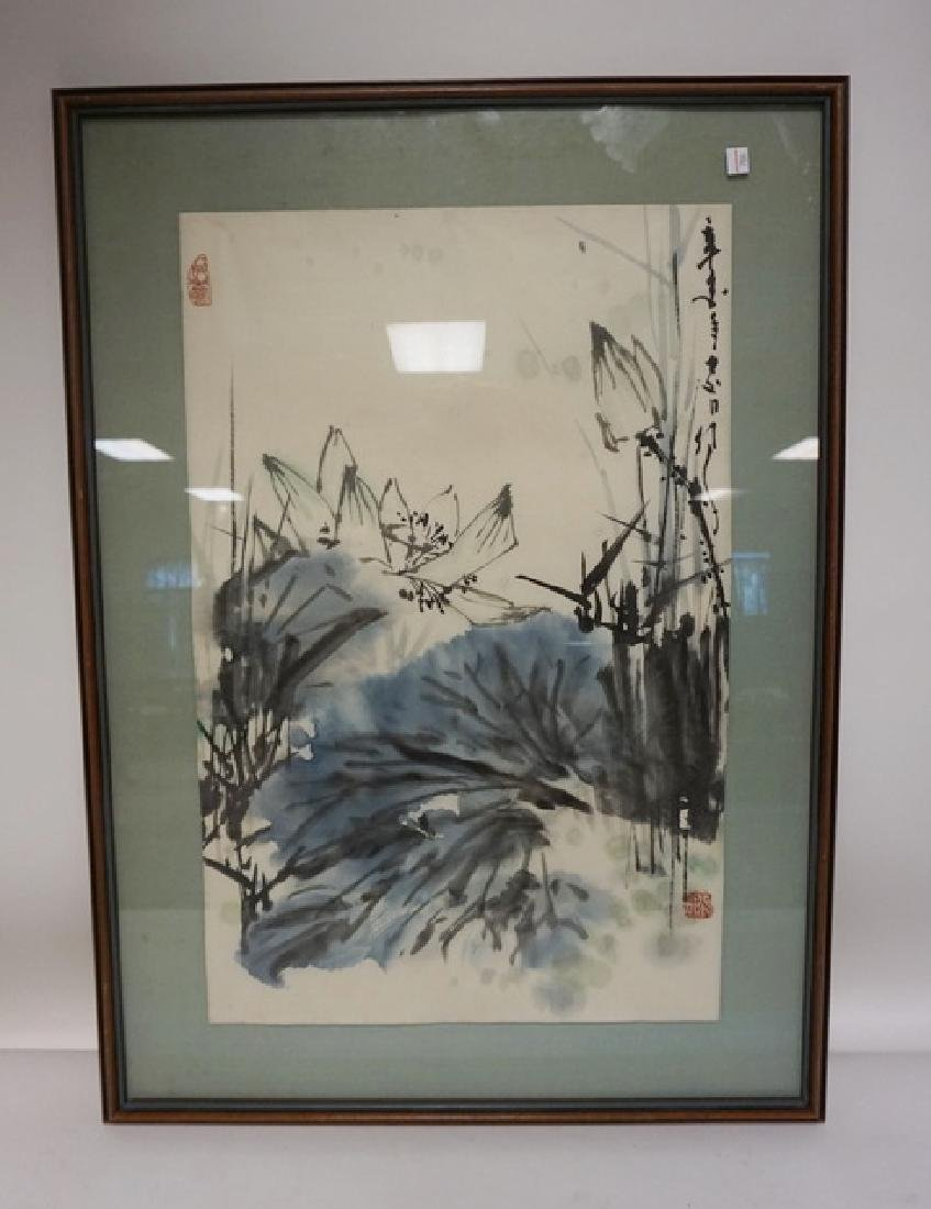 SIGNED ASIAN PRINT. BOTANICAL. 17 IN X 26 1/2 IN