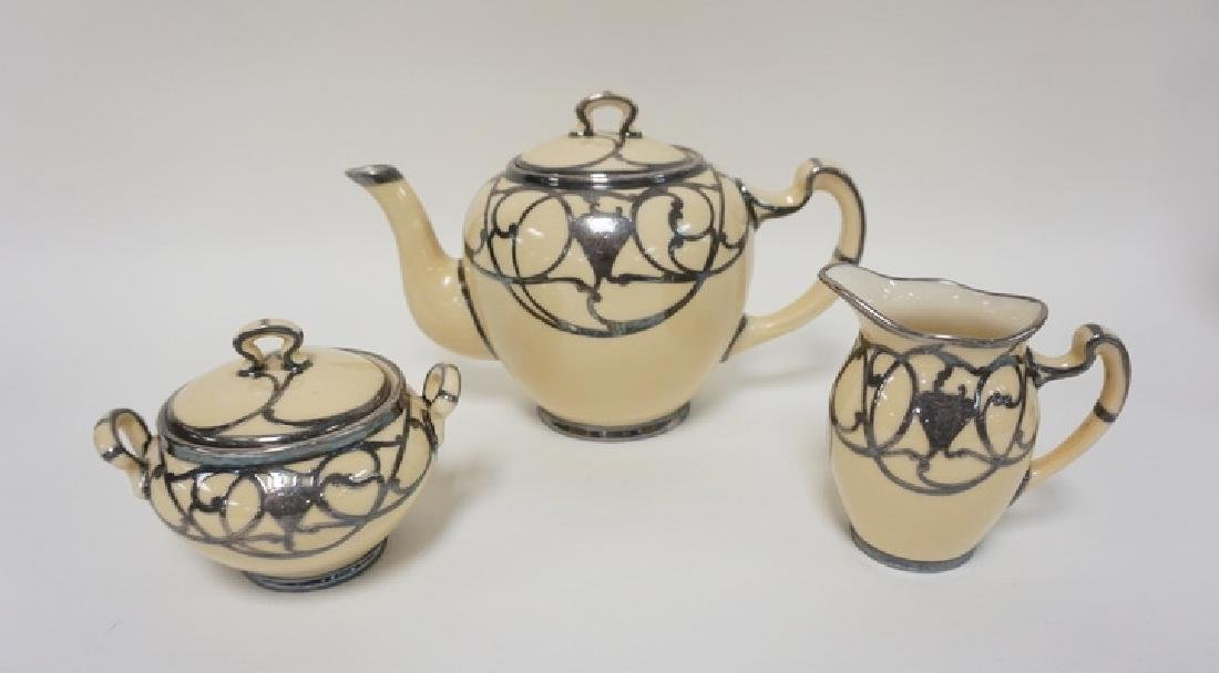 GREEN MARK LENOX SILVER OVERLAY 3 PC TEA SET. POT IS 6