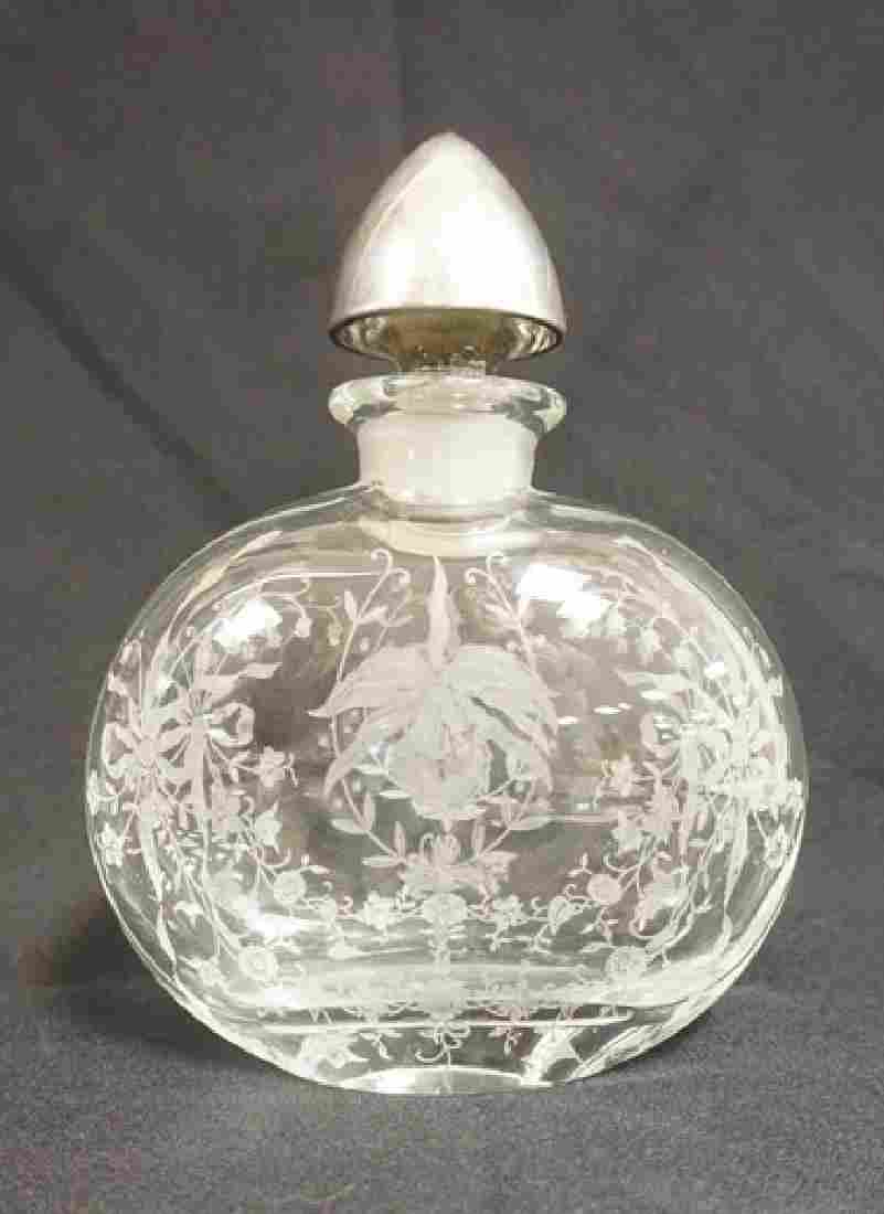 HEISEY ORCHID ELEGANT ETCHED DECANTER WITH STERLING