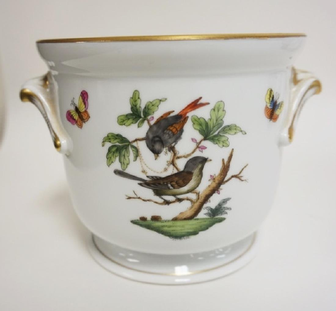 HEREND PORCELAIN CACHE POT WITH BIRDS AND BUTTERFLIES. - 3