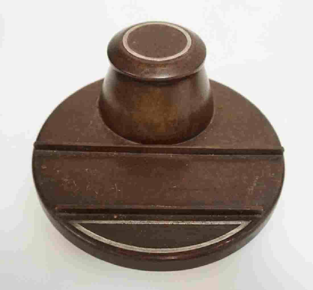 HEINTZ ART METAL STERLING SILVER ON BRONZE INKWELL WITH