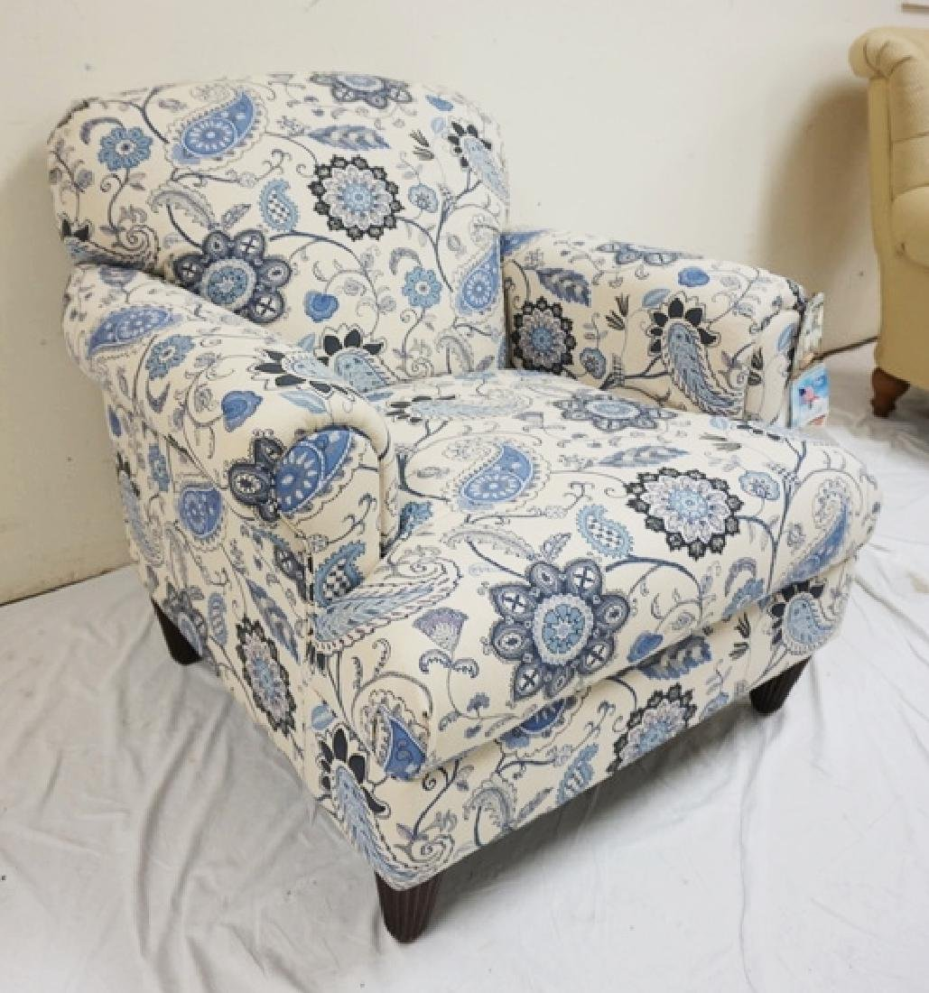 KLAUSSNER BLUE AND WHITE PAISLEY UPHOLSTERED ARM CHAIR. - 2