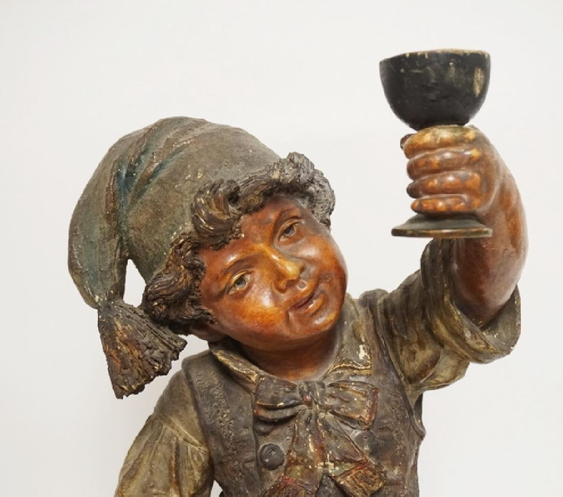 LARGE GERMAN POTTERY FIGURE OF A BOY HOLDING A CHALICE - 2