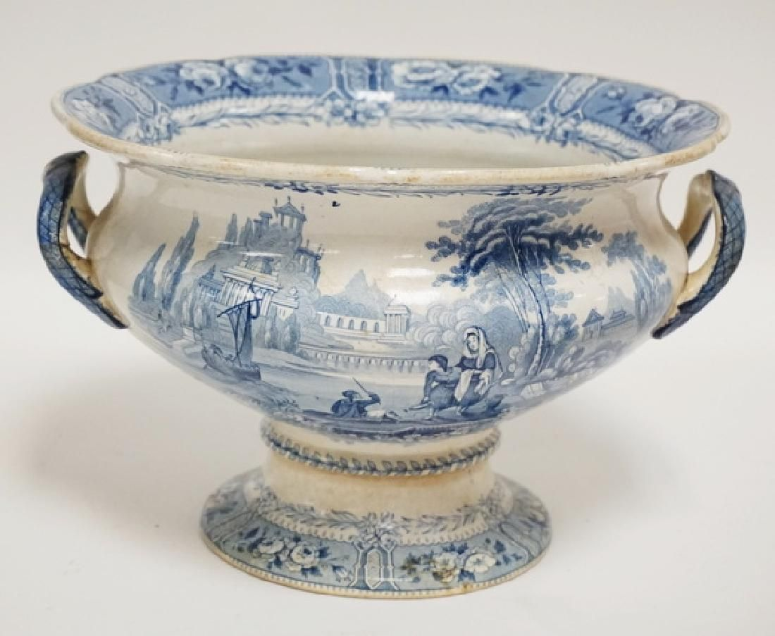 BLUE TRANSFERWARE FOOTED BOWL WITH 2 HANDLES. 9 5/8