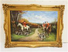 VERY LARGE CONTEMORARY OIL PAINTING ON CANVAS OF A HUNT