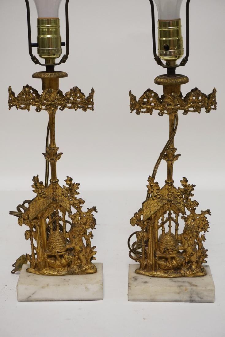 PAIR OF GILT BRONZE GIRONDOLES MADE INTO LAMPS. 25 1/4