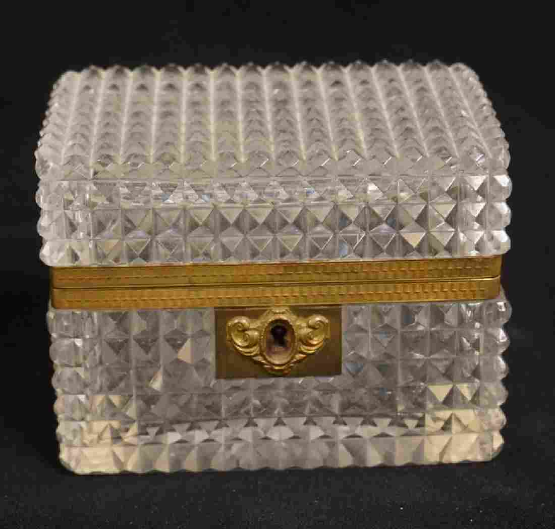 CUT CRYSTAL BOX WITH A BRASS FRAME AND LOCK (NO KEY). 5