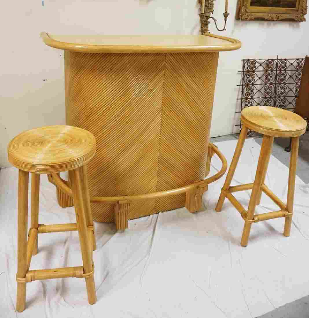 RATAAN BAR WITH 2 STOOLS. 44 1/2 IN H, 49 IN WIDE, 27