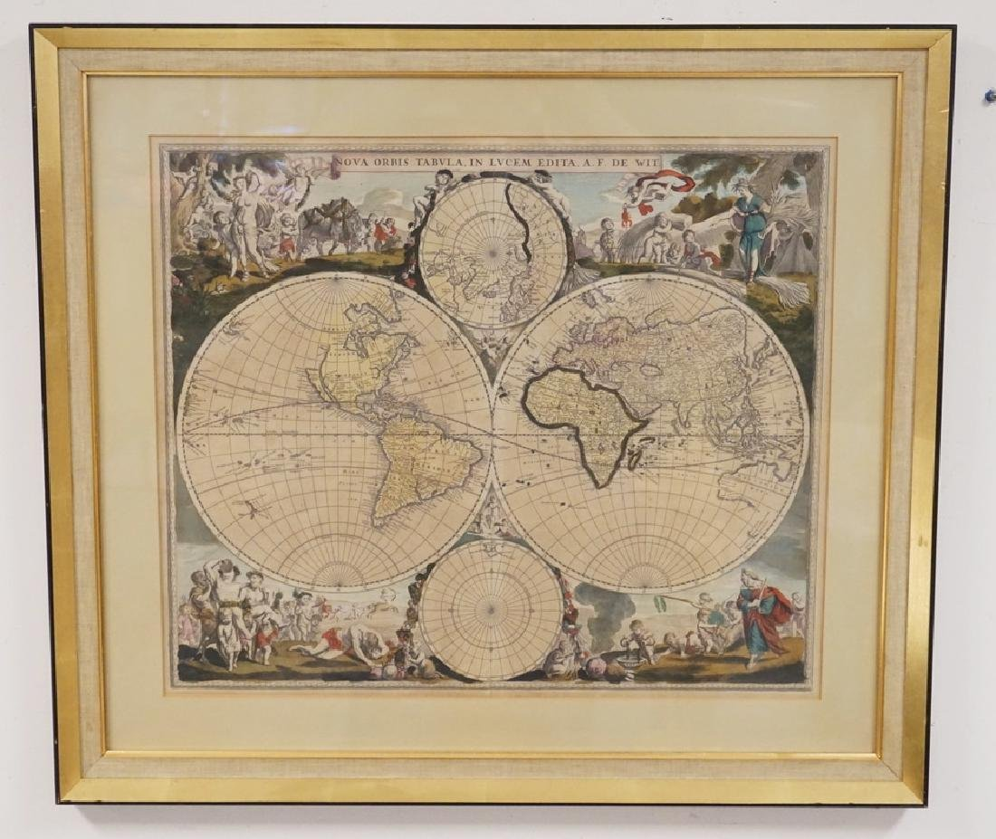 ANTIQUE HAND COLORED WORLD MAP WITH SCENIC CORNERS.