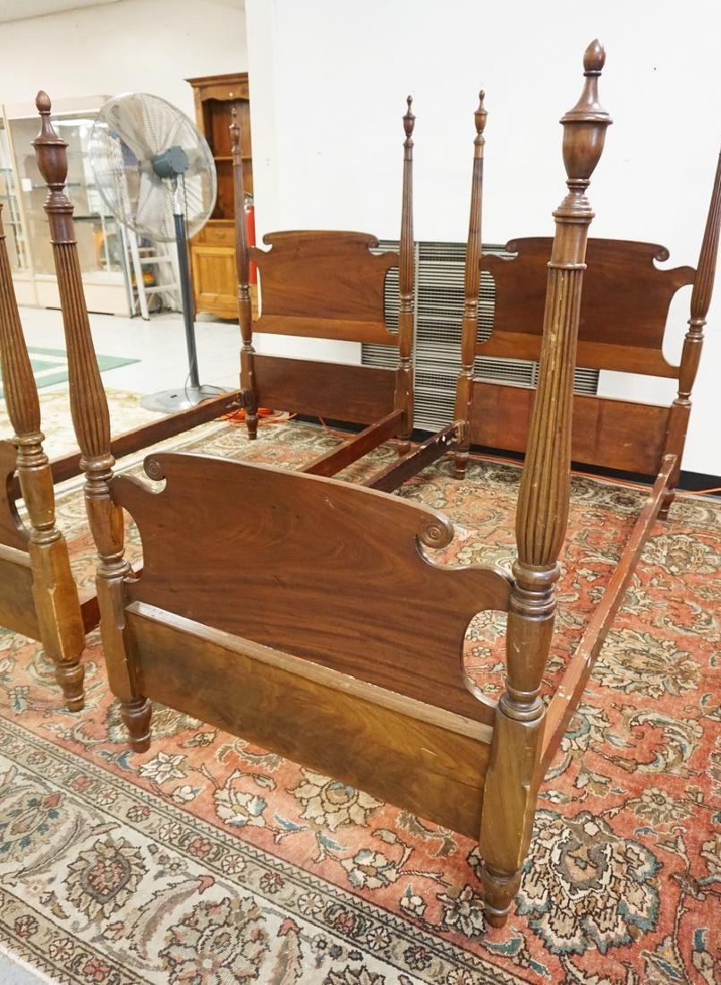 PAIR OF ANTIQUE MAHOGANY TWIN BEDS. - 2