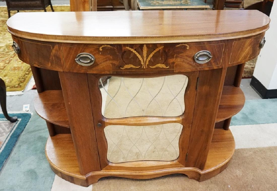 QUALITY HALL MASTERPIECE INLAID DEMILUNE CREDENZA WITH