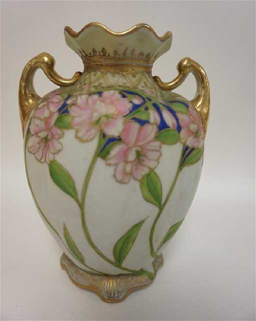 Hand Painted Nippon Vase With Pink Flowers Green