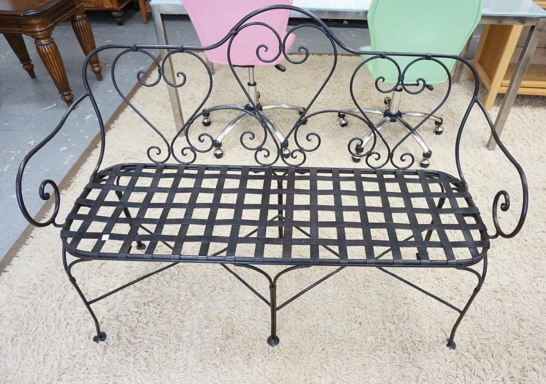 IRON PATIO BENCH. 51 IN WIDE