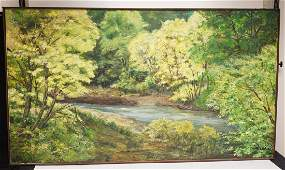 LARGE OIL PAINTING ON CANVAS OF A WOODED LANDSCAPE 60