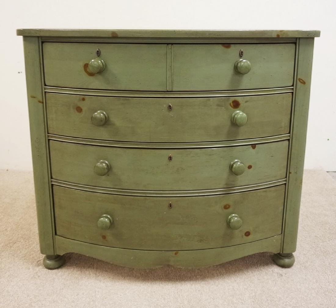 BROYHILL YORKSHIRE MARKET 4 DRW BOW FRONT GREEN CHEST.