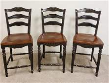 SET OF 3 PAINT DECORATED BAR CHAIRS 18 IN WIDE 42 IN