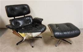 SIGNED HERMAN MILLER SWIVEL CHAIR & OTTOMAN. AS FOUND