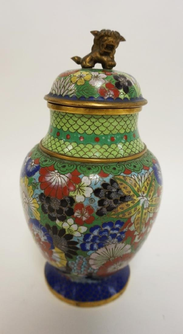 COLORFUL CLOISONNE COVERED JAR W/FOO DOG FINIAL. 8 1/2