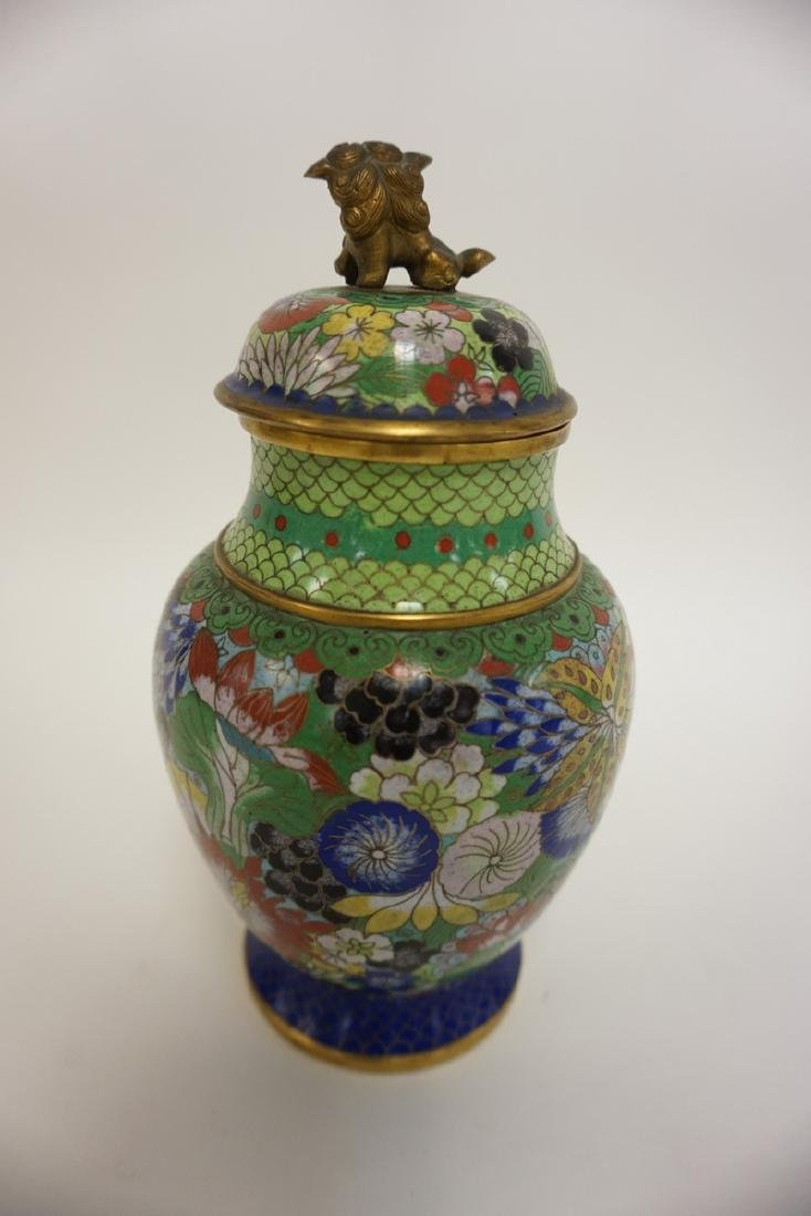 COLORFUL CLOISONNE COVERED JAR W/FOO DOG FINIAL. 8 1/2 - 2