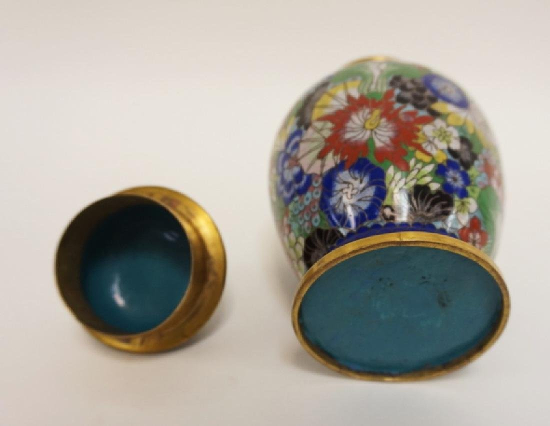 COLORFUL CLOISONNE COVERED JAR W/FOO DOG FINIAL. 8 1/2 - 3