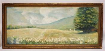 OIL PAINTING ON CANVAS OF A LANDSCAPE WITH FLOWERS IN