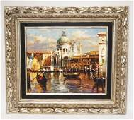 CONTEMPORARY OIL PAINTING ON CANVAS OF A VENETIAN CANAL