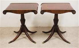 PAIR OF MAHOGANY LAMP TABLES WITH LEATHER TOPS CARVED