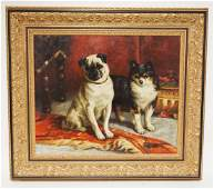 PORTRAIT OIL PAINTING ON CANVAS OF 2 DOGS. INITIALED