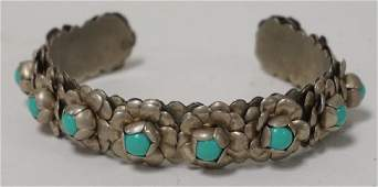 MEXICAN SILVER BRACELET WITH TURQUOISE STONES SET INTO