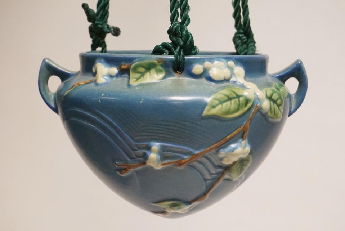 Roseville Snowberry Art Pottery Hanging Planter In