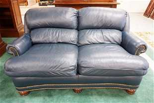 Han Moore Blue Leather Loveseat 61 Inches Long