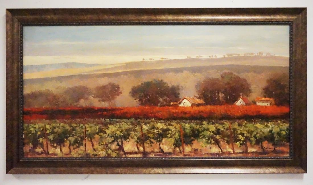 OIL PAINTING OF A ROLLING COUNTRYSIDE.