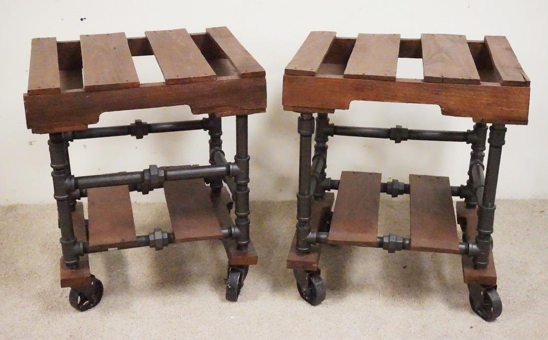 REPURPOSED PALLET AND PIPE END TABLES.