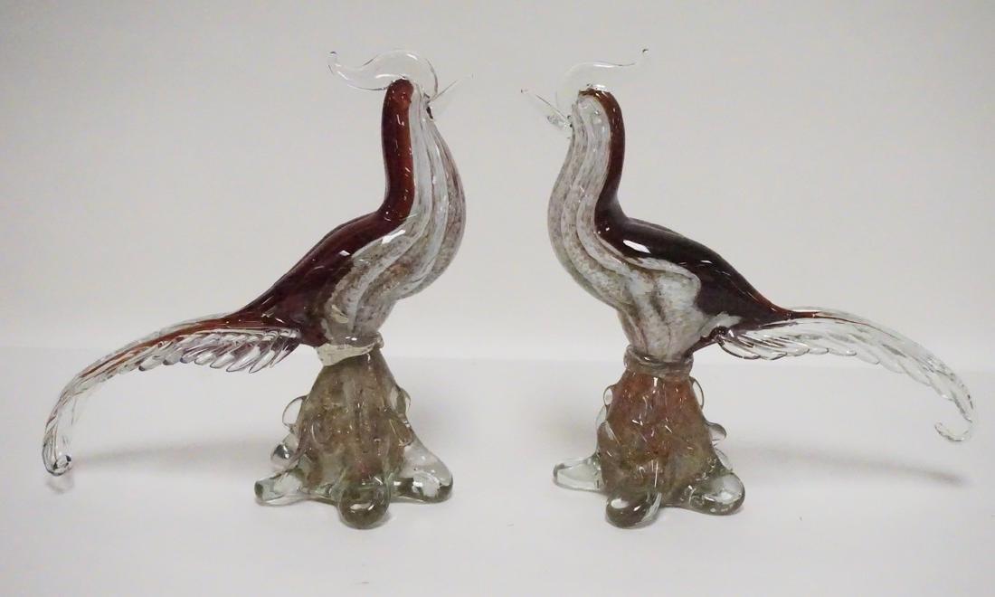 PAIR OF MURANO TYPE ART GLASS BIRDS.