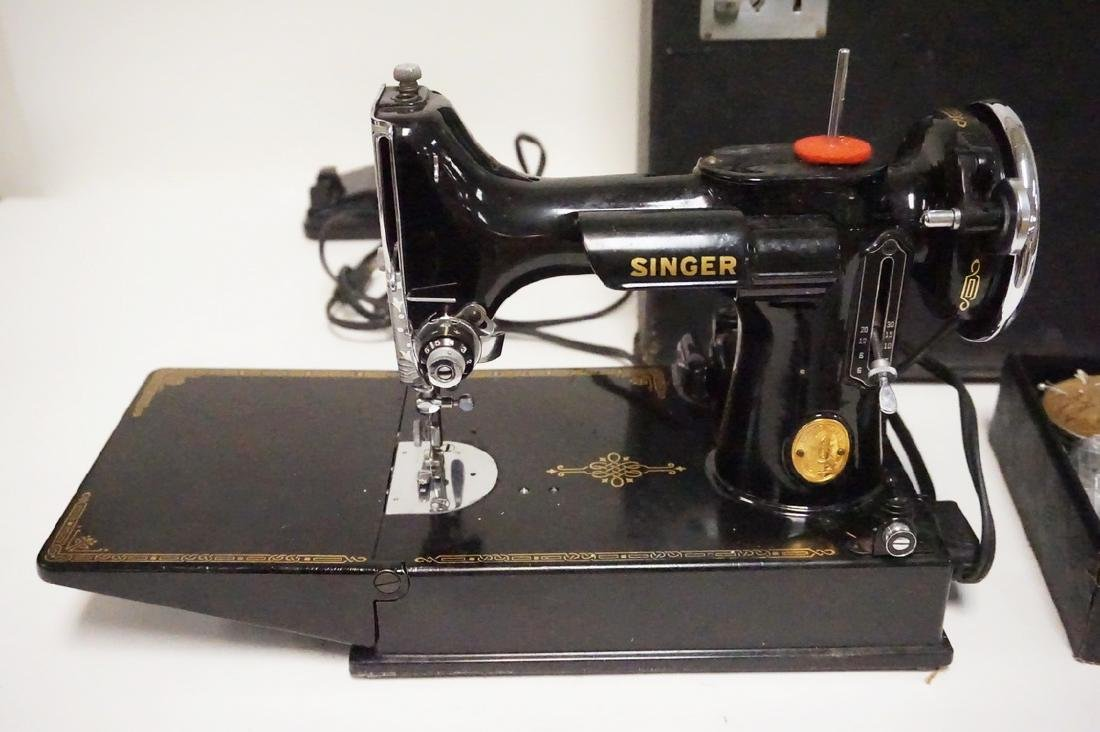 SINGER FEATHERWEIGHT SEWING MACHINE WITH CASE. SERIAL - 2