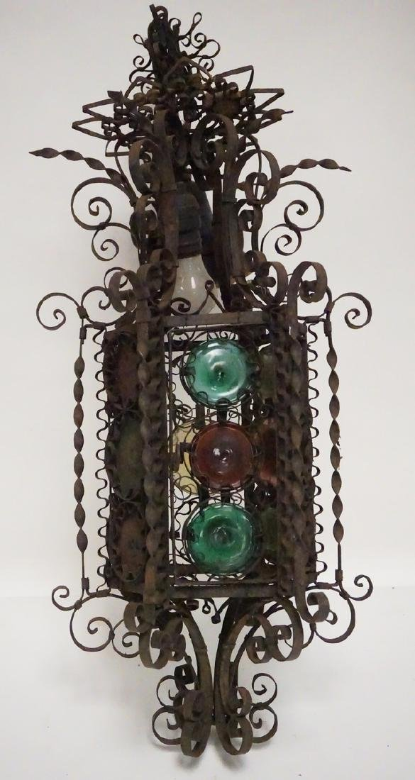 ANTIQUE WROUGHT IRON HANGING LIGHT FIXTURE WITH GLASS