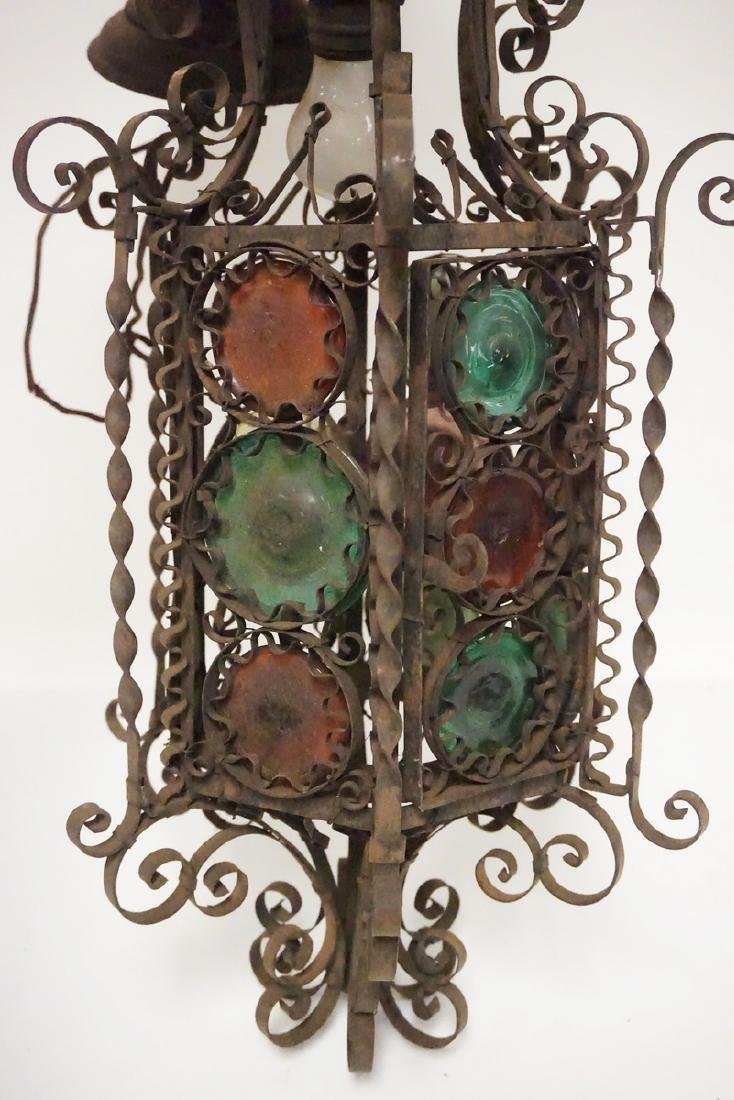 ANTIQUE WROUGHT IRON HANGING LIGHT FIXTURE WITH GLASS - 2
