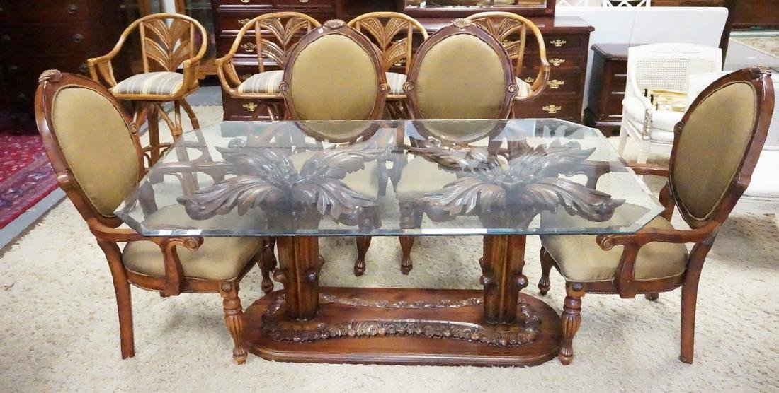 DINING TABLE WITH 4 CHAIRS. THE TABLE HAS AN ORNATELY