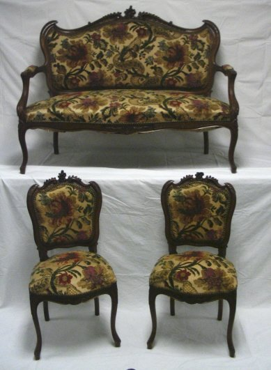 106: 3 PIECE CARVED PARLOR SUITE, FRENCH STYLE