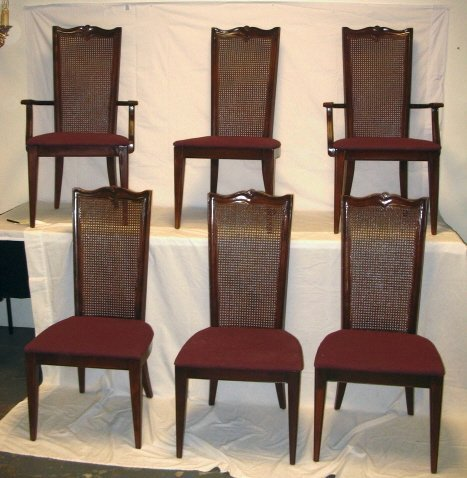 108: SET OF 6 VAN SCIVER DINING CHAIRS W/ CANE BACKS