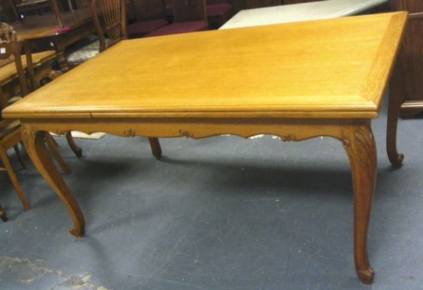 98: CARVED OAK DINING TABLE