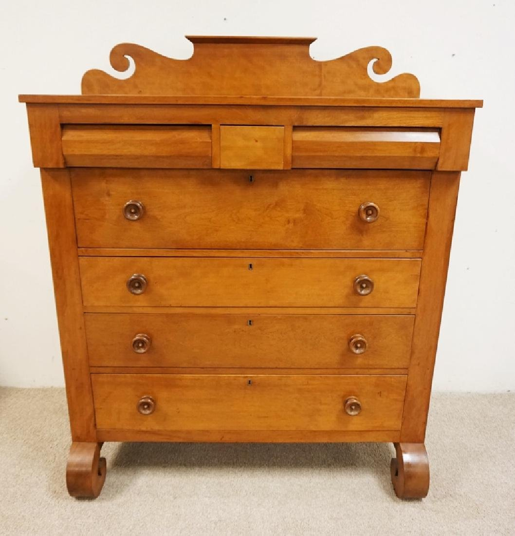 ANTIQUE SOLID CHERRY CHEST OF DRAWERS WITH A SCROLL CUT