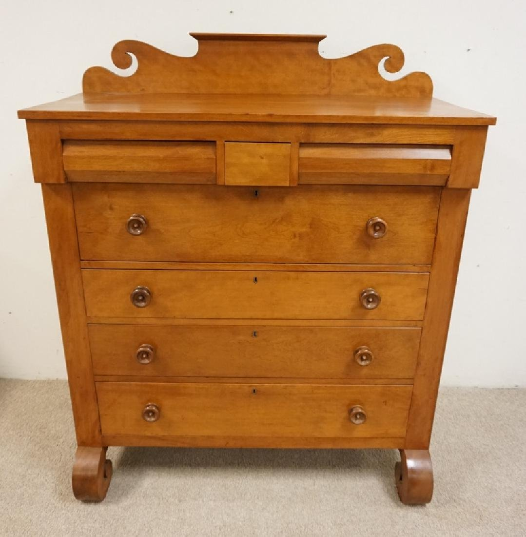 ANTIQUE SOLID CHERRY CHEST OF DRAWERS WITH A SCROLL CUT - 2