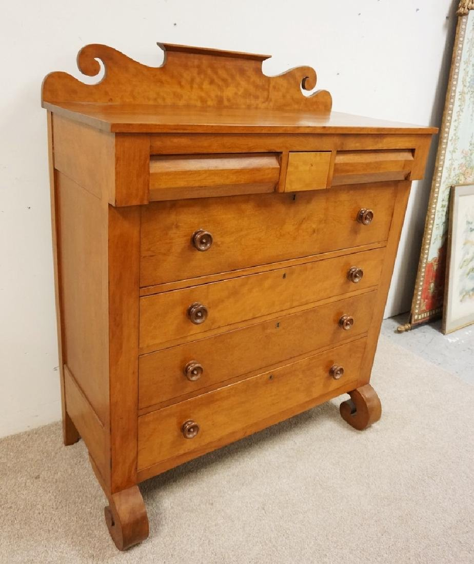 ANTIQUE SOLID CHERRY CHEST OF DRAWERS WITH A SCROLL CUT - 3
